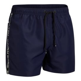 Iconic Logo Tape Swim Shorts, Navy