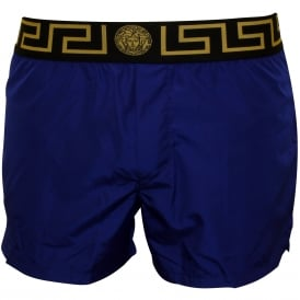 Iconic Luxe Swim Shorts, Bluette with black/gold