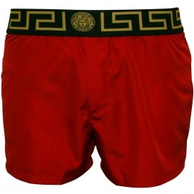 Iconic Luxe Swim Shorts, Red with black/gold