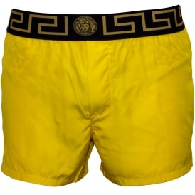 Iconic Luxe Swim Shorts, Yellow with black/gold