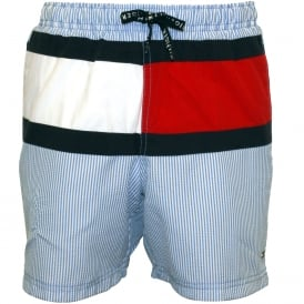 Ithaca Stripe Flag Logo Boys Swim Shorts, Blue