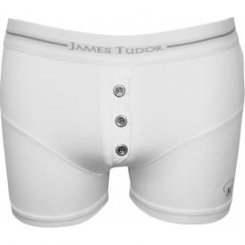 Button-Fly Boxer Trunk, White