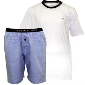 Jersey T-Shirt & Woven Stripe Shorts Boys Pyjamas Gift Set, White/Blue
