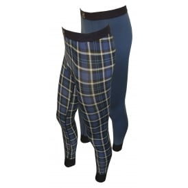 2-Pack Plaid & Solid Stretch Cotton Long Johns, Blue