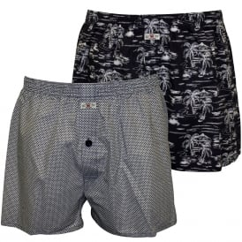 2-Pack Woven Boxer Shorts, Palms/Dots in Navy