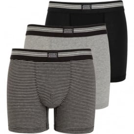 3-Pack Cotton Stretch Boxer Briefs, Black/Grey