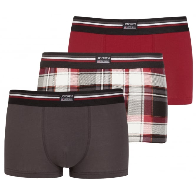 Jockey 3-Pack Cotton Stretch Boxer Trunks, Burgundy/Grey/Check
