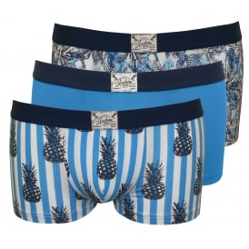 3-Pack Cotton Stretch Boxer Trunks, Floral/Pineapple Prints in Blue
