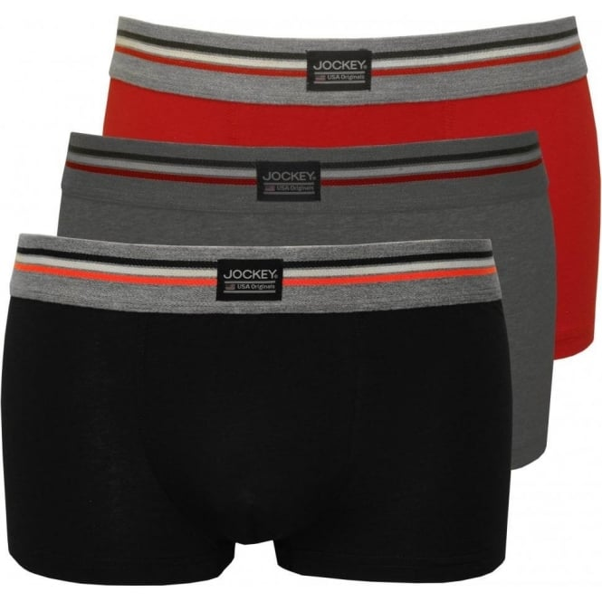 Jockey 3-Pack Cotton Stretch Boxer Trunks, Grey/Red/Navy