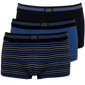 3-Pack Cotton Stretch Boxer Trunks, Navy/Blue/Stripe