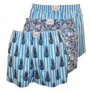 3-Pack Woven Boxer Shorts, Floral/Pineapples/Stripes in Blue