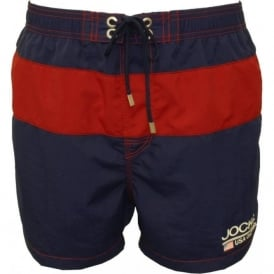 Block Stripe Swim Shorts, Navy/Red