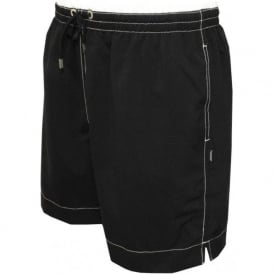 Contrast Waistband Swim Shorts, Black/White