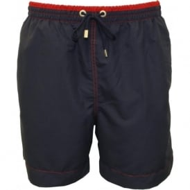 Contrast Waistband Swim Shorts, Navy/Red