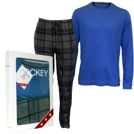 Long-Sleeve T-Shirt & Bottoms Jersey Pyjama Set, Blue/Grey