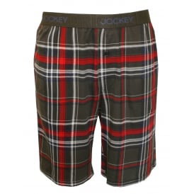 Plaid Cotton Modal Jersey Lounge Shorts, Grey/Red/White