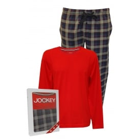 Single Jersey Long-Sleeve Pyjama Set, Red/Check