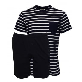 Striped Short-Sleeve Jersey T-Shirt & Shorts Pyjama Set, Navy