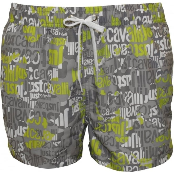 Just Cavalli All Over Logo Swimming Shorts, Grey/Lime