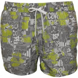 All Over Logo Swimming Shorts, Grey/Lime