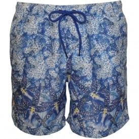 Graphic Floral Photo Print Swim Shorts, Blue