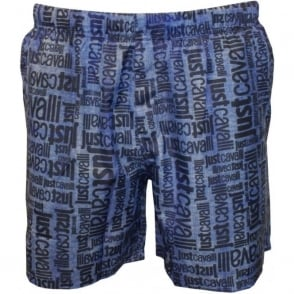 Jeans-effect Faded All Over Logo Print Swim Shorts, Blue