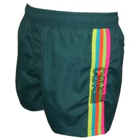 Rainbow Side Stripe Swim Shorts, Teal Blue