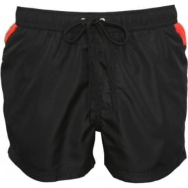 Reverse Logo Print Athletic-Fit Swim Shorts, Black