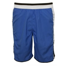 Side Logo Bermuda-style Long Swim shorts, Blue
