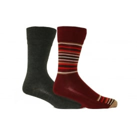 2-Pack 168sf Blanket Stripe Regular-Cut Socks, Red/Charcoal