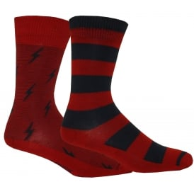 2-Pack 168sf Micro Stripe Lightning Socks, Burgundy/Navy