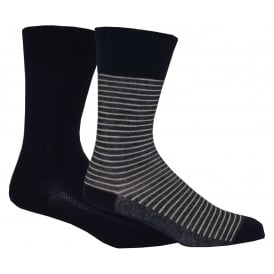 2-Pack 168sf Stripe & Solid Socks, Denim Blue