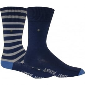 2-Pack 168sf Striped & Solid Socks, Blue/Grey