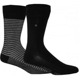 2-Pack 168sf Striped & Solid Socks, Jet Black