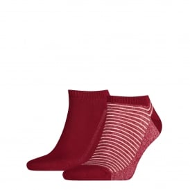 2-Pack 168sf Striped Trainer Socks, Red