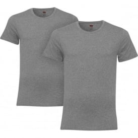 2-Pack 200sf Crew-Neck T-Shirts, Grey Melange