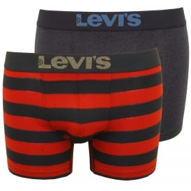 2-Pack 200sf Rugby Stripe Boxer Briefs, Red/Navy