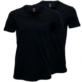 2-Pack 200sf V-Neck T-Shirts, Black