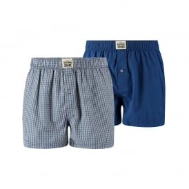 2-Pack 300 Levi Strauss Check Woven Boxer Shorts, Blue