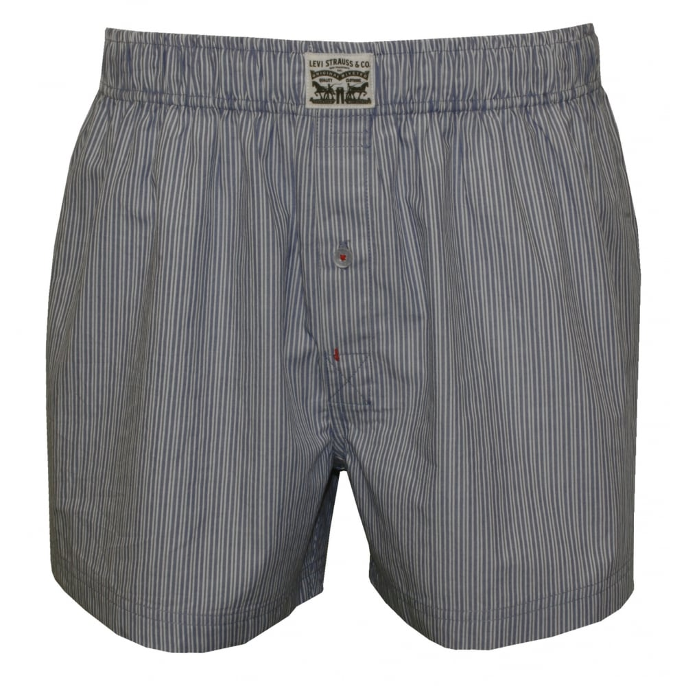 Levi s 2-Pack 300 Levi Strauss Striped Woven Boxer Shorts, Blue   UnderU 41afbb2423