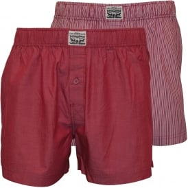 2-Pack 300 Levi Strauss Striped Chambray Woven Boxer Shorts, Red