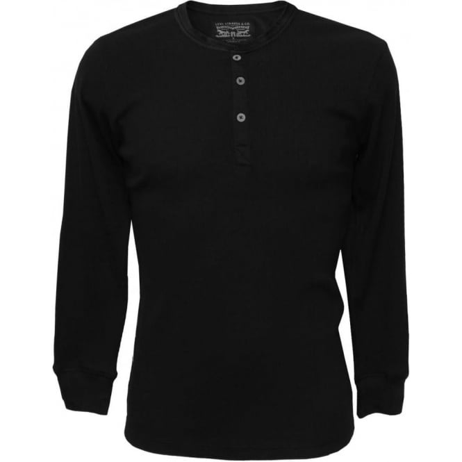 Levi's 300 Levi Strauss Ribbed Cotton Long-Sleeve Henley T-Shirt, Black