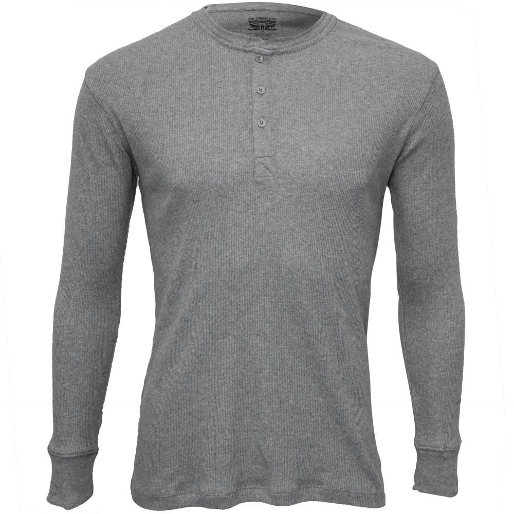 c9f78dde1cd 300 Levi Strauss Ribbed Cotton Long-Sleeve Henley T-Shirt, Grey Melange