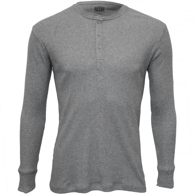 Levi's 300 Levi Strauss Ribbed Cotton Long-Sleeve Henley T-Shirt, Grey Melange