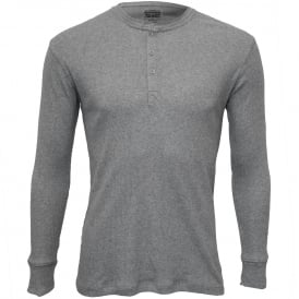 300 Levi Strauss Ribbed Cotton Long-Sleeve Henley T-Shirt, Grey Melange