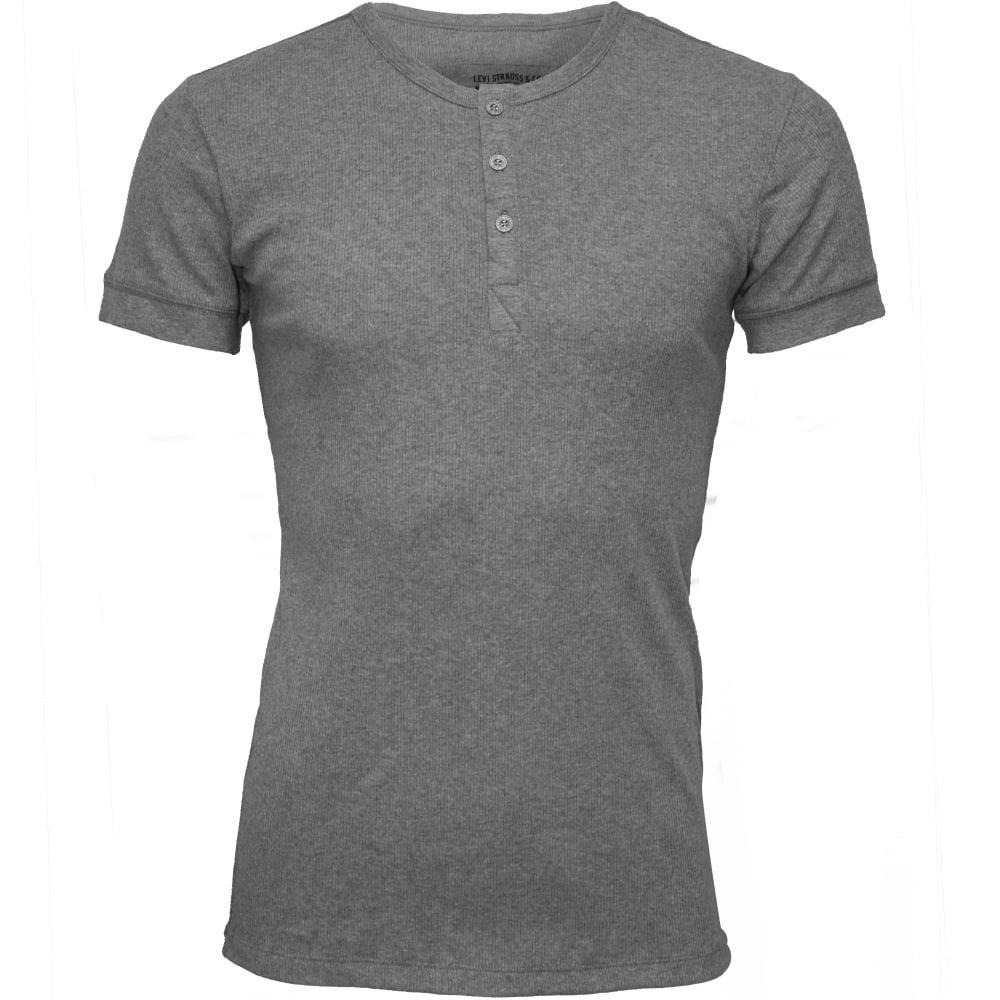 1688db015b0 300 Levi Strauss Ribbed Cotton Short-Sleeve Henley T-Shirt, Grey Melange