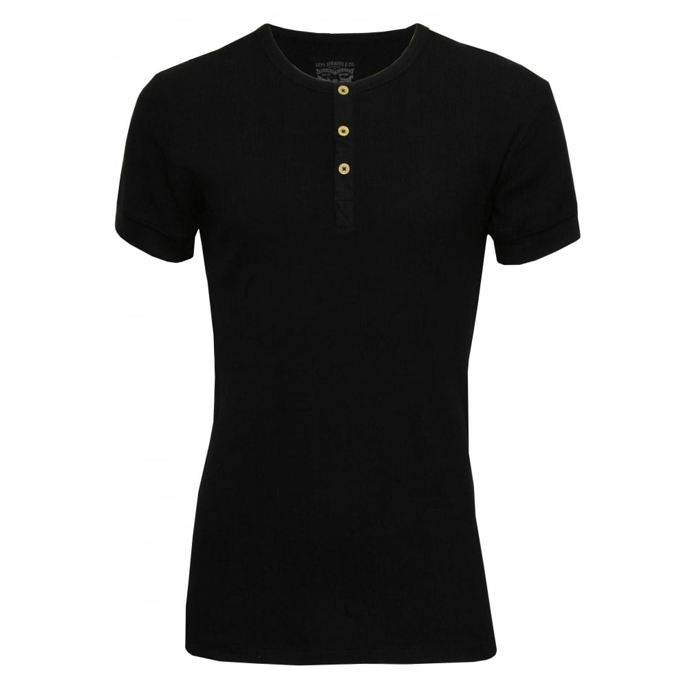a4510734adc 300 Levi Strauss Ribbed Cotton Short-Sleeve Henley T-Shirt, Jet Black