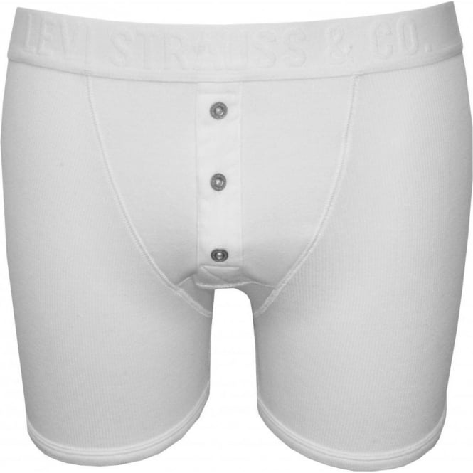 Levi's 300sf Ribbed Button-Fly Boxer Brief, White