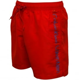 Logo Tape Swim Shorts, Salsa Red