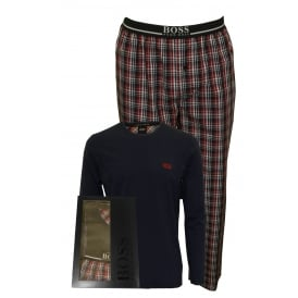 Long-Sleeve Jersey & Woven Check Bottoms Pyjama Set, Navy/Red